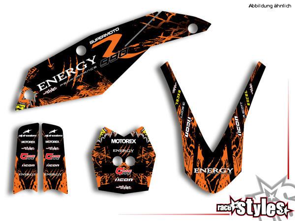 Basic Dekor-Kit für KTM Supermoto 990 2009-2013 bestehend aus Gabel li./re., Kotflügel vo./hi. und