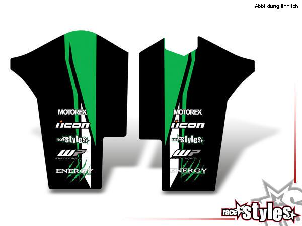 AMA-LTD. Gabelprotektoren Dekor li./re. für KTM SX / SX-F (2007-2010) und EXC / EXC-F / SMR (2008-2011).