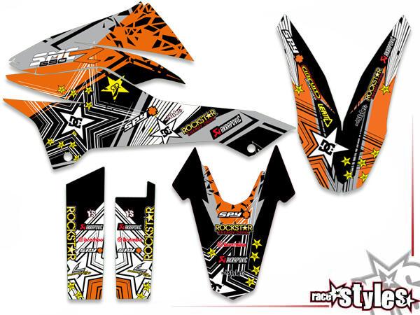 Rockstar-MX Basic Dekor-Kit für KTM 690 SMC / SMC-R / ENDURO (2008-2017) bestehend aus Gabel li./re., Kotflügel