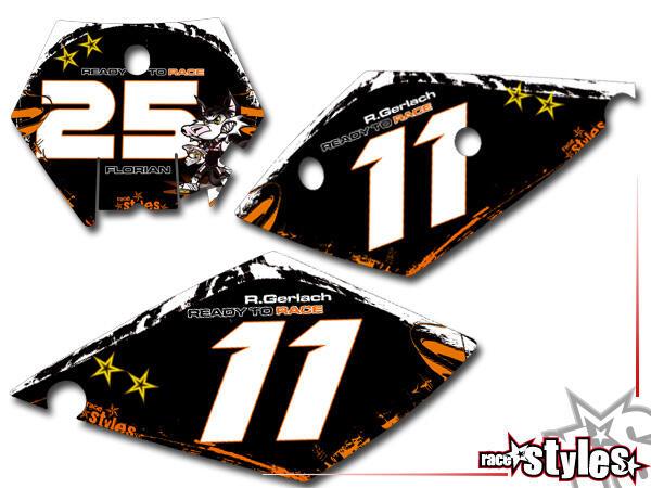 Graffiti-FX Startnummernfelder Dekor-Kit für KTM SX / SX-F (1998-2006) und EXC / EXC-F / SMR (1998-2007). inkl.