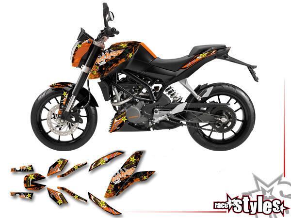 Basic Dekor-Kit für KTM 125 / 200 Duke 2011-2018 bestehend aus Gabel li./re., Kotflügel vo./hi. und