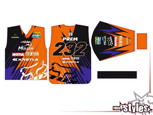 ID-Motocross-Shirt bestehend aus 100% atmungsaktivem Polyester. Das Shirt kann vollständig personal