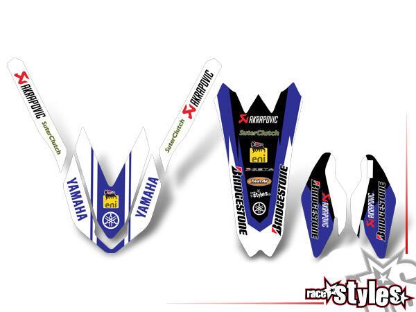 Yamaha TRIM KIT beinhaltet das abgebildete Dekor bestehend aus: Kotflügel, Gabelprotektoren und Hec