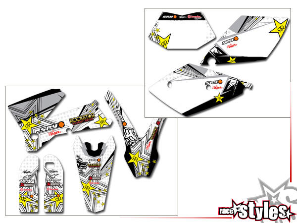 DEKOR FULL-KIT für KTM SX / SX-F (1998-2006) und EXC / EXC-F / SMR (1998-2007). Die Hintergrundfarb