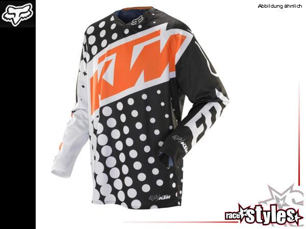 FOX 360 KTM Jersey. Hauptkörper aus Polyester mit Mesh Panel im Rückenbereich für verstärkte Luftst