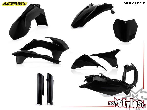 Plastik-Kit schwarz für diverse KTM Modelle. Der Kit setzt sich wie folgt zusammen:- Gabelprotektor