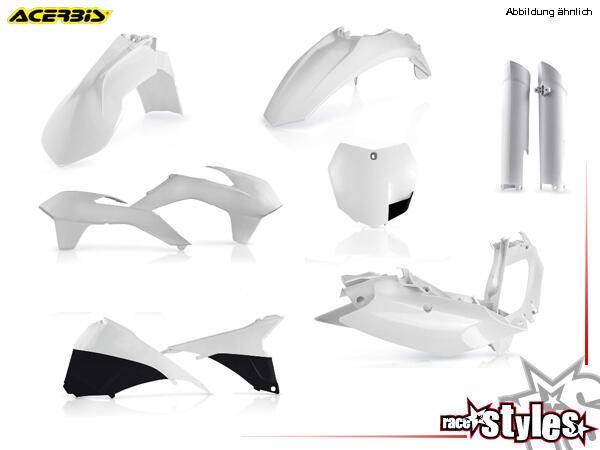 Plastik-Kit weiß für diverse KTM Modelle. Der Kit setzt sich wie folgt zusammen:- Gabelprotektoren