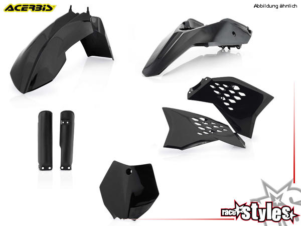 Plastik-Kit schwarz für diverse KTM SX65 Modelle. Der Kit setzt sich wie folgt zusammen:- Gabelprot