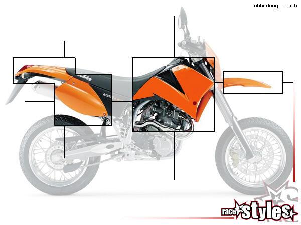 KTM LC4 Plastik-Kit für die Modelle 1998-2004. Der Kit setzt sich wie folgt zusammen:- Schutzblech