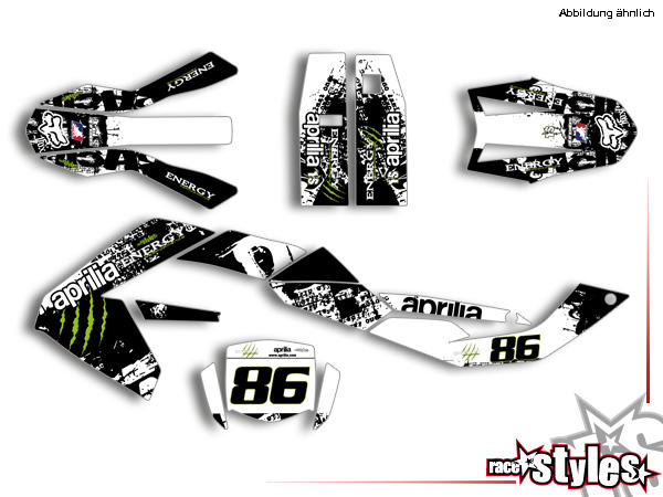 Brandings Komplettset für APRILIA SX / RX 50 - 125 Modelle 2006-2017 bestehend aus Gabel li./re., Kühler li./