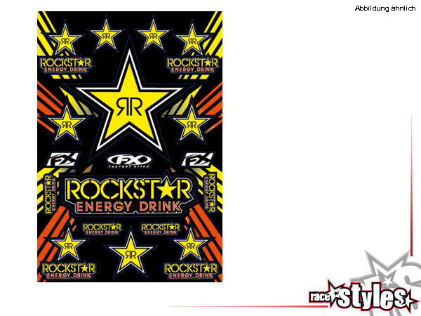 Sponsor Aufkleber Kit ROCKSTAR von FX. Größe ca. 51x35cm.