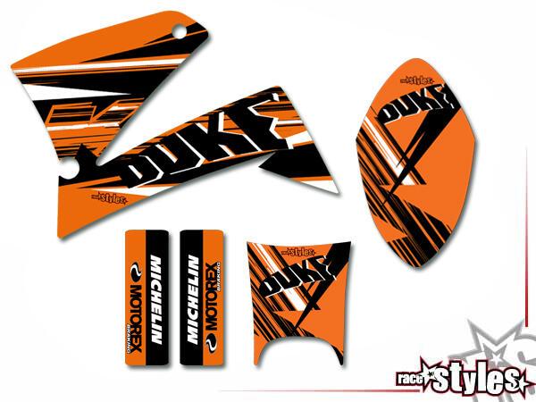 Basic Dekor-Kit für KTM Duke II 640 E (1998-2007) bestehend aus Gabel li./re., Kotflügel vo./hi. un