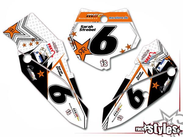 Brandings Startnummernfelder Dekor-Kit für KTM SX50 2002-2015 / SX65 2000-2015 / SX85 2000-2012. inkl. Luftfi