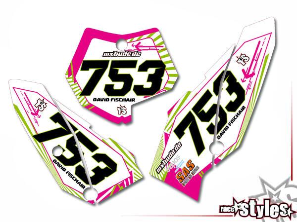 Graffiti-FX Startnummernfelder Dekor-Kit für KTM SX50 2002-2015 / SX65 2000-2015 / SX85 2000-2012. inkl. Luftfi