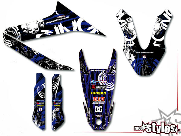 Skull-FMX Basic Dekor-Kit für YAMAHA WR 125X / 125R (2009-2017) bestehend aus Gabel li./re., Kotflügel vo./hi