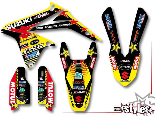 DSR-Suzuki Basic Dekor-Kit für SUZUKI RM / RMZ (125 250 450) Modelle 1990-1999, 2000-2020 bestehend aus Gabel