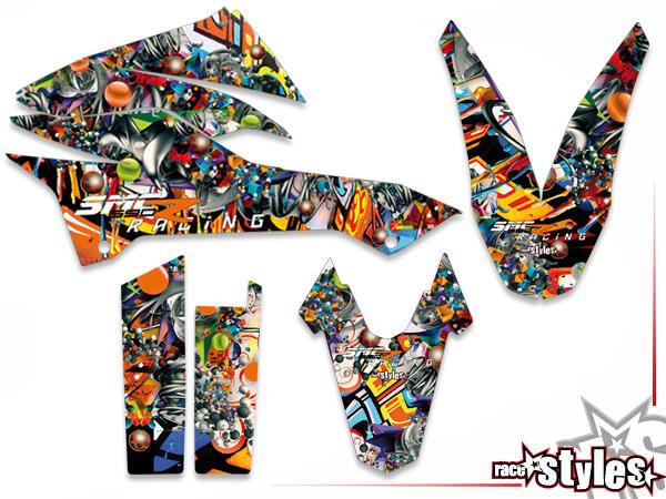 Graffiti-FX Basic Dekor-Kit für KTM 690 SMC / SMC-R / ENDURO (2008-2017) bestehend aus Gabel li./re., Kotflügel