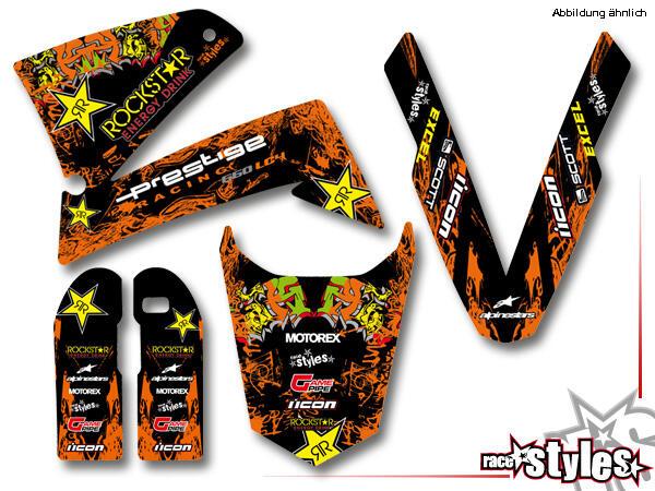 Rockstar-MX Basic Dekor-Kit  für KTM LC4 - SXC / SM / SMC / DUKE 620-660 (1998-2007) bestehend aus Gabel li./re