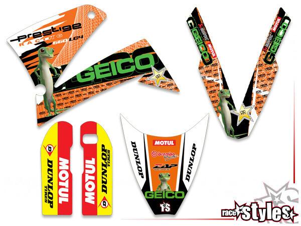 GEICO-LTD. Basic Dekor-Kit  für KTM LC4 - SXC / SM / SMC / DUKE 620-660 (1998-2007) bestehend aus Gabel li./re