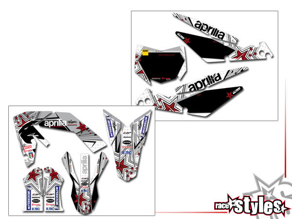 DEKOR-FULL-KIT für:- APRILIA SXV / RXV / MXV / 450-550, 2006-2015- Gabelp. + Kotflügel + Kühlerspoi