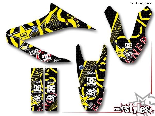 Rockstar-MX Basic Dekor-Kit für YAMAHA WR 125X / 125R (2009-2017) bestehend aus Gabel li./re., Kotflügel vo./hi