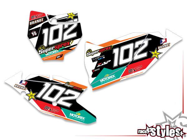 Brandings Startnummernfelder Dekor-Kit für KTM SX / SX-F (2016-2017, 2018-2020) und EXC / EXC-F (2017-2019, 2