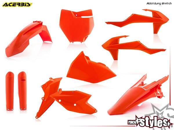 Plastik-Kit orange für diverse KTM Modelle. Der Kit setzt sich wie folgt zusammen:- Gabelprotektore