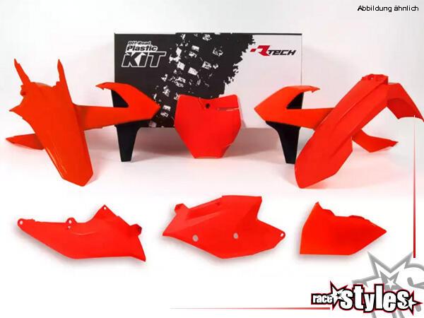 Plastic-Kit NEON ORANGE für diverse KTM Modelle. Der Kit setzt sich wie folgt zusammen:- Gabelprote