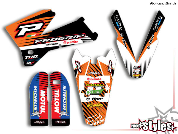 Basic Dekor-Kit für KTM SX / SX-F (1998-2006) und EXC / EXC-F / SMR (1998-2007) bestehend aus Gabel