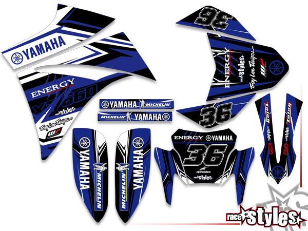 Brandings Basic Dekor-Kit für YAMAHA XT660 R/X (2004-2014) bestehend aus Gabel li./re., Kotflügel vo./hi. und