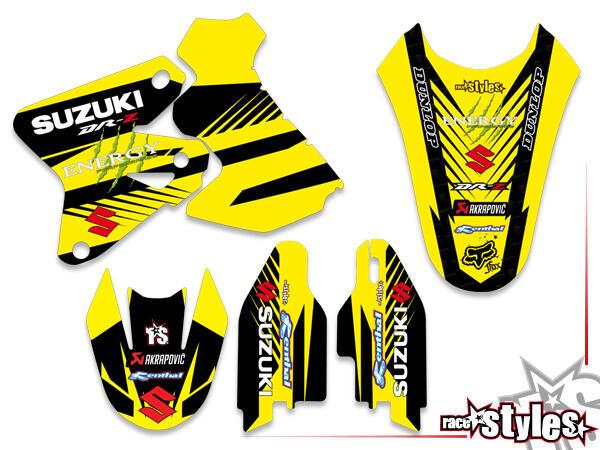 Basic Dekor-Kit für SUZUKI DRZ 400, 2000-2007 bestehend aus Gabel li./re., Kotflügel vo./hi. und Kü