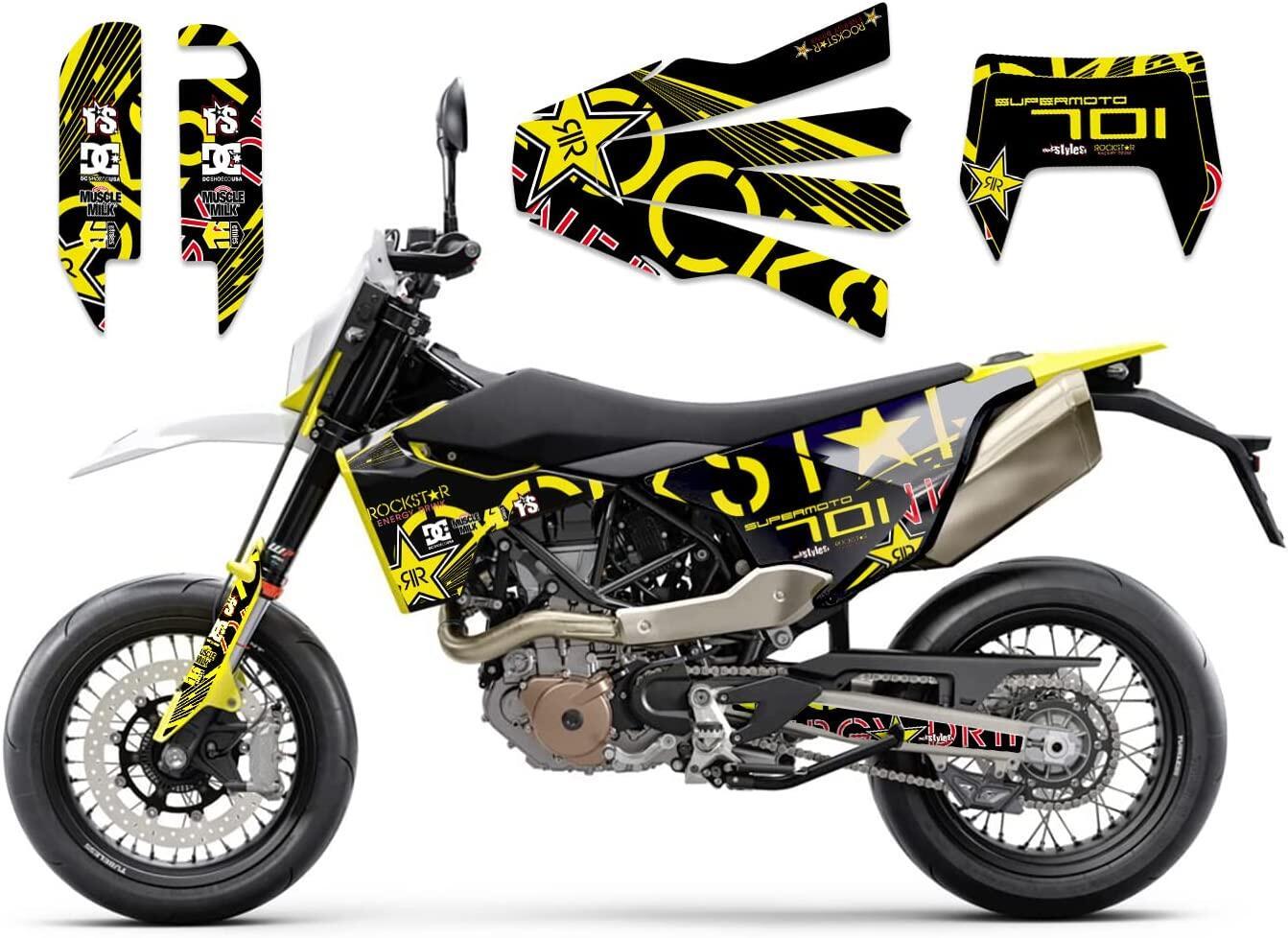 Brandings Basic Dekor-Kit für HUSQVARNA 701 Supermoto / ENDURO (2016-2020) bestehend aus Gabel li./re., Kotfl