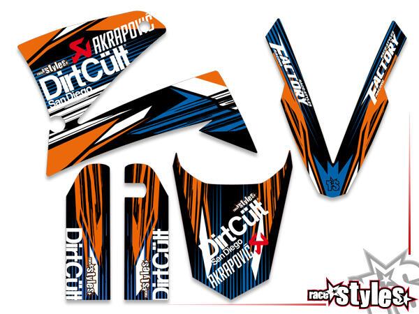 Basic Dekor-Kit  für KTM LC4 - SXC / SM / SMC / DUKE 620-660 (1998-2007) bestehend aus Gabel li./re