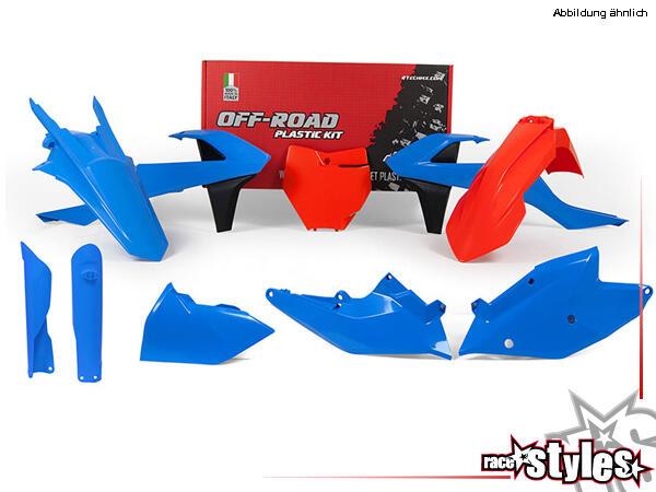 Plastic-Kit VINTAGE BLUE für diverse KTM Modelle. Der Kit setzt sich wie folgt zusammen:- Gabelprot