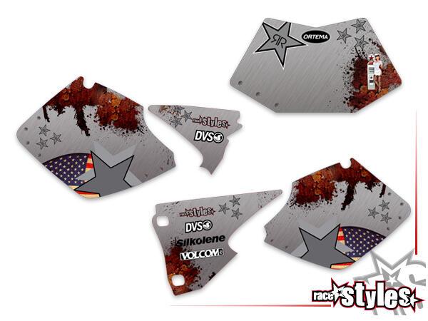 American-Way Startnummernfelder Dekor-Kit für KTM SX / SX-F (1998-2006) und EXC / EXC-F / SMR (1998-2007). inkl.