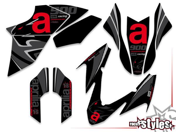 Premium-LTD. Basic Dekor-Kit für APRILIA Dorsoduro 750 / 900 / 1200, 2008-2020 bestehend aus Gabel li./re., Kotf