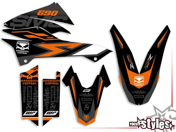 Basic Dekor-Kit für KTM 690 SMC / SMC-R / ENDURO (2008-2017) bestehend aus Gabel li./re., Kotflügel