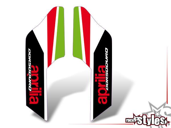 Alitalia-LTD. Gabelprotektoren Dekor li./re. für APRILIA Dorsoduro 750 / 900 / 1200, 2008-2020.