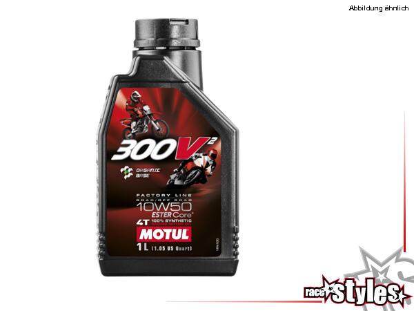 Motul 10W-50 300V Factory Line Motoröl. Vollsynthetisches 4-Takt Rennsportmotorenöl basierend auf E