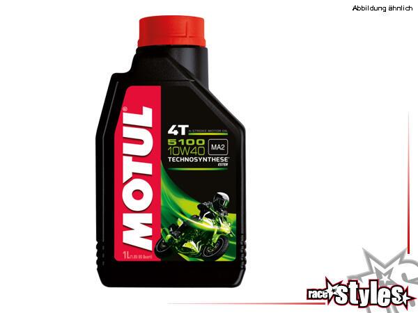 Motul 5100 4T 10W-40 Motoröl. Halbsynthetisches Motorenöl mit Ester-Technologie für Motorräder mit