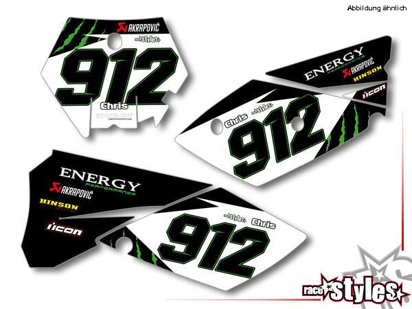 Startnummernfelder Dekor-Kit für KTM SX / SX-F (1998-2006) und EXC / EXC-F / SMR (1998-2007). inkl.