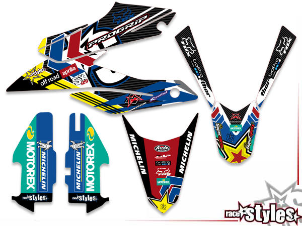 Basic Dekor-Kit für APRILIA SX / RX 50 - 125 Modelle 2018-2020 bestehend aus Gabel li./re., Kühler
