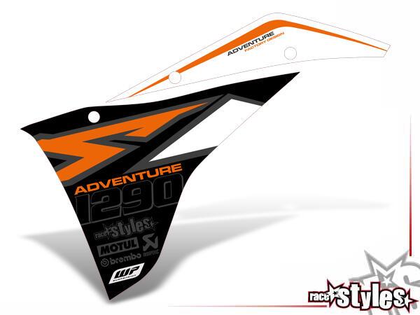 Kühlerspoiler Dekor li./re. für KTM Super Adventure 1290 Modelle (2015-2019).
