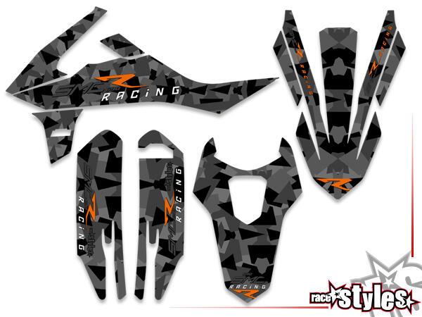Basic Dekor-Kit für KTM 690 SMC-R / ENDURO 2019- bestehend aus Gabel li./re., Kotflügel vo./hi. und