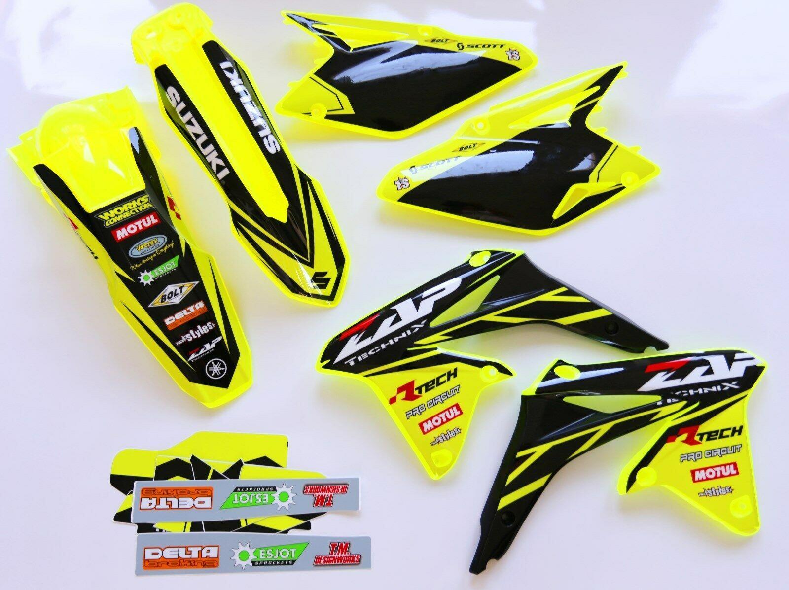Der Plastik-Kit für SUZUKI RMZ 250, 2010-2017 oder SUZUKI RMZ 450, 2008-2017 in NEON-gelb/schwarz,