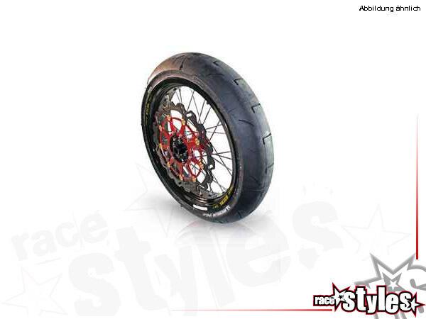 Vorderes Supermoto-Komplettrad für verschiedene Motorradmodelle. In verschiedenen Farben lieferbar.
